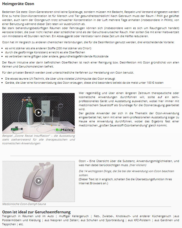 Ozongeräte für den Heimgebrauch